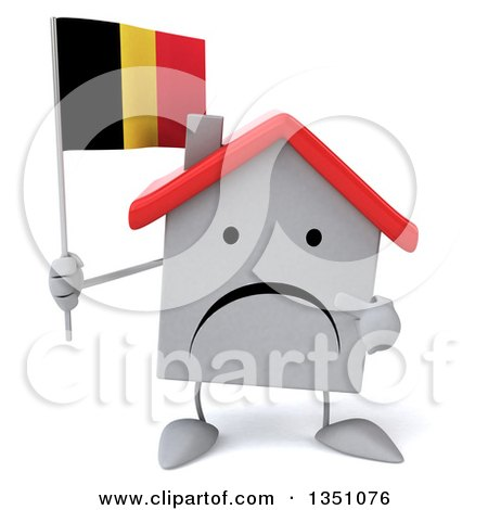 Clipart of a 3d Unhappy White House Character Holding and Pointing to a Belgian Flag - Royalty Free Illustration by Julos