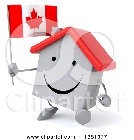 Clipart of a 3d Happy White House Character Holding a Canadian Flag and Walking - Royalty Free Illustration by Julos