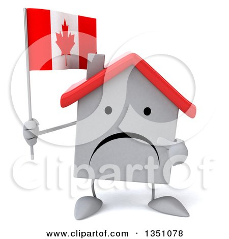 Clipart of a 3d Unhappy White House Character Holding and Pointing to a Canadian Flag - Royalty Free Illustration by Julos
