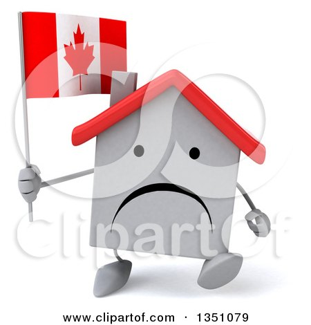 Clipart of a 3d Unhappy White House Character Holding a Canadian Flag and Walking - Royalty Free Illustration by Julos