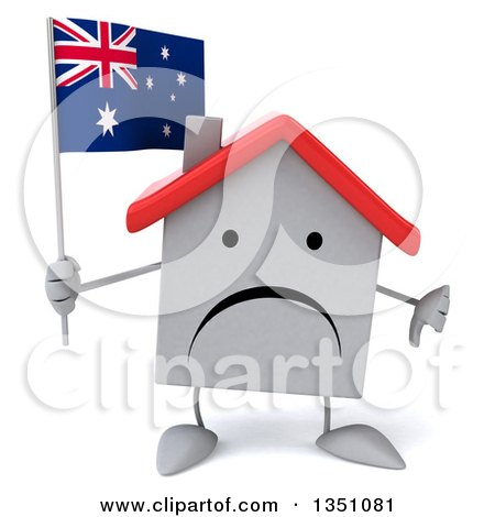 Clipart of a 3d Unhappy White House Character Holding an Australian Flag and Giving a Thumb down - Royalty Free Illustration by Julos