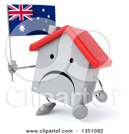 Clipart of a 3d Unhappy White House Character Holding an Australian Flag and Walking - Royalty Free Illustration by Julos