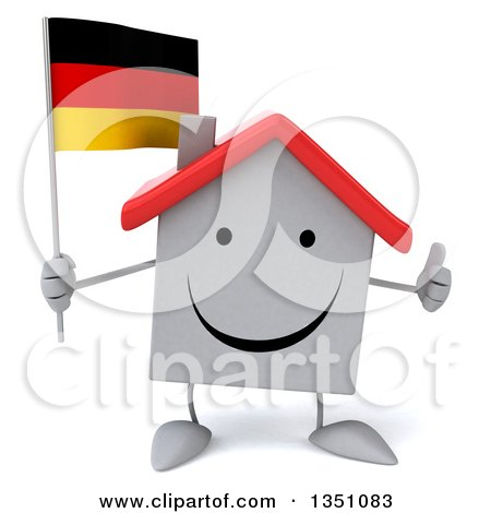 Clipart of a 3d Happy White House Character Holding a German Flag and Giving a Thumb up - Royalty Free Illustration by Julos