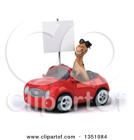 Clipart of a 3d Brown Horse Wearing Sunglasses, Holding a Blank Sign and Driving a Red Convertible Car to the Left - Royalty Free Illustration by Julos