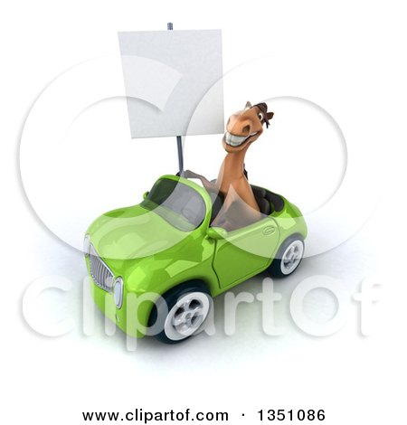 Clipart of a 3d Brown Horse Holding a Blank Sign and Driving a Green Convertible Car to the Left - Royalty Free Illustration by Julos