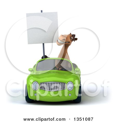 Clipart of a 3d Brown Horse Holding a Blank Sign and Driving a Green Convertible Car - Royalty Free Illustration by Julos