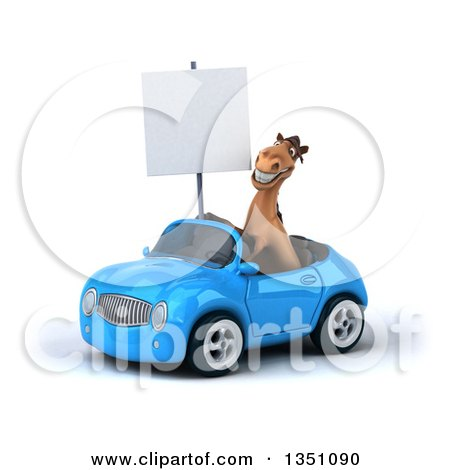 Clipart of a 3d Brown Horse Holding a Blank Sign and Driving a Blue Convertible Car to the Left - Royalty Free Illustration by Julos