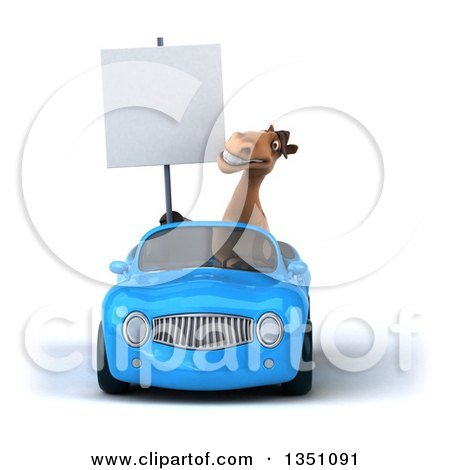 Clipart of a 3d Brown Horse Holding a Blank Sign and Driving a Blue Convertible Car - Royalty Free Illustration by Julos