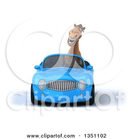 Clipart of a 3d Brown Horse Driving a Blue Convertible Car - Royalty Free Illustration by Julos