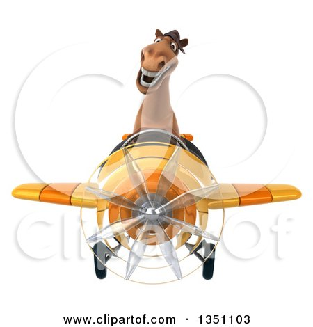 Clipart of a 3d Brown Horse Aviator Pilot Flying a Yellow Airplane - Royalty Free Illustration by Julos
