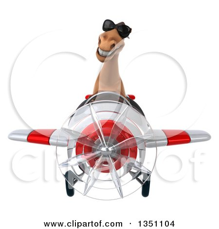 Clipart of a 3d Brown Horse Aviator Pilot Wearing Sunglasses and Flying a White and Red Airplane - Royalty Free Illustration by Julos