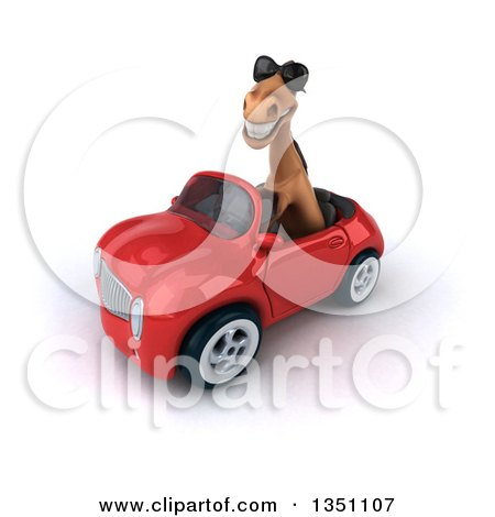 Clipart of a 3d Brown Horse Wearing Sunglasses and Driving a Red Convertible Car to the Left - Royalty Free Illustration by Julos