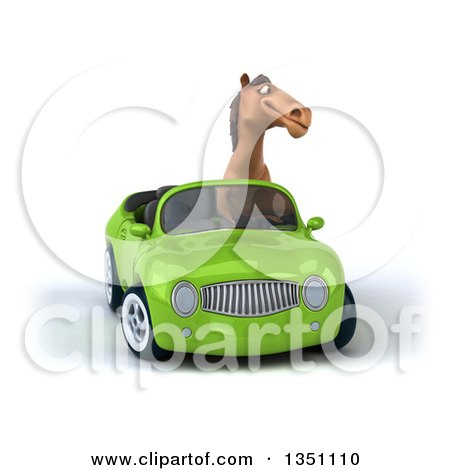Clipart of a 3d Brown Horse Driving a Green Convertible Car - Royalty Free Illustration by Julos