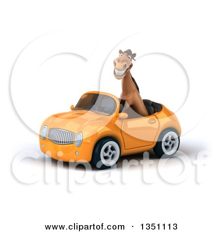 Clipart of a 3d Brown Horse Driving an Orange Convertible Car to the Left - Royalty Free Illustration by Julos