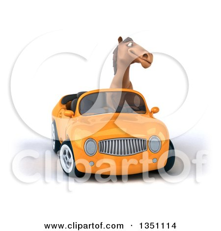 Clipart of a 3d Brown Horse Driving an Orange Convertible Car - Royalty Free Illustration by Julos