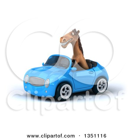 Clipart of a 3d Brown Horse Driving a Blue Convertible Car to the Left - Royalty Free Illustration by Julos