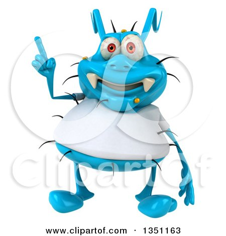 Clipart of a 3d Blue Germ Virus Wearing a White T Shirt and Holding up a Finger - Royalty Free Illustration by Julos
