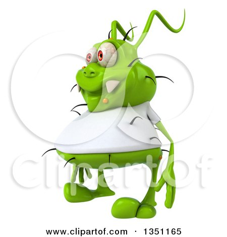 Clipart of a 3d Green Germ Virus Wearing a White T Shirt, Facing Left - Royalty Free Illustration by Julos
