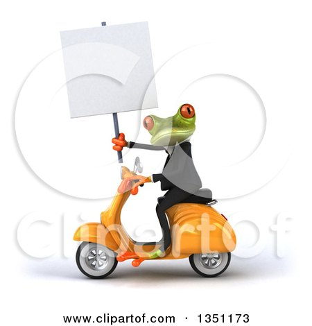 Clipart of a 3d Green Business Springer Frog Holding a Blank Sign and Riding a Yellow Scooter to the Left - Royalty Free Illustration by Julos