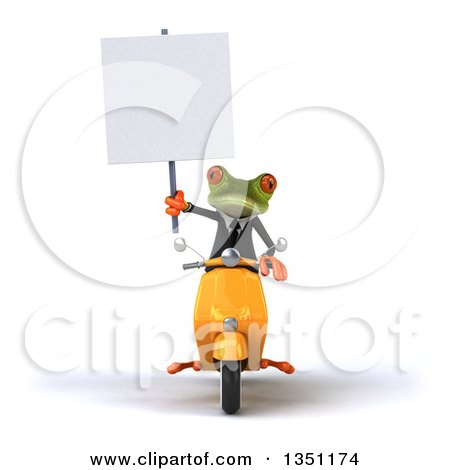 Clipart of a 3d Green Business Springer Frog Holding a Blank Sign and Riding a Yellow Scooter - Royalty Free Illustration by Julos