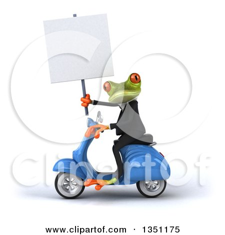 Clipart of a 3d Green Business Springer Frog Holding a Blank Sign and Riding a Blue Scooter to the Left - Royalty Free Illustration by Julos