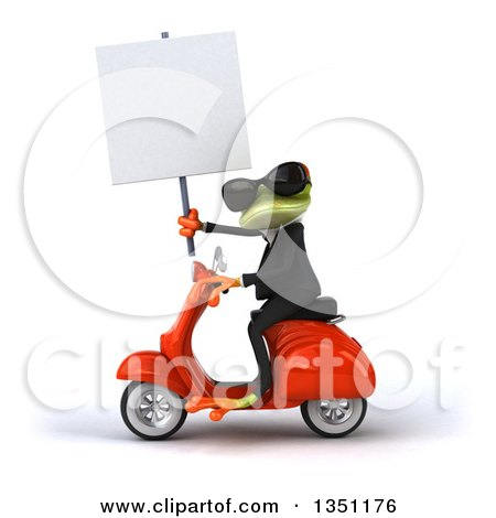 Clipart of a 3d Green Business Springer Frog Wearing Sunglasses, Holding a Blank Sign and Riding a Red Scooter to the Left - Royalty Free Illustration by Julos
