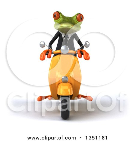 Clipart of a 3d Green Business Springer Frog Riding a Yellow Scooter - Royalty Free Illustration by Julos