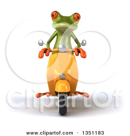 Clipart of a 3d Green Springer Frog Riding a Yellow Scooter - Royalty Free Illustration by Julos