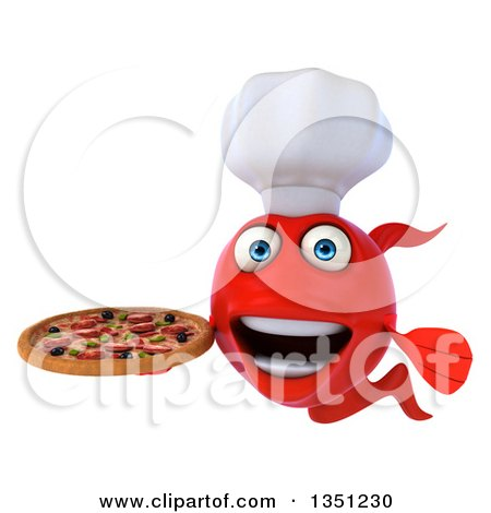 Clipart of a 3d Red Chef Fish Facing Left and Holding a Pizza - Royalty Free Illustration by Julos