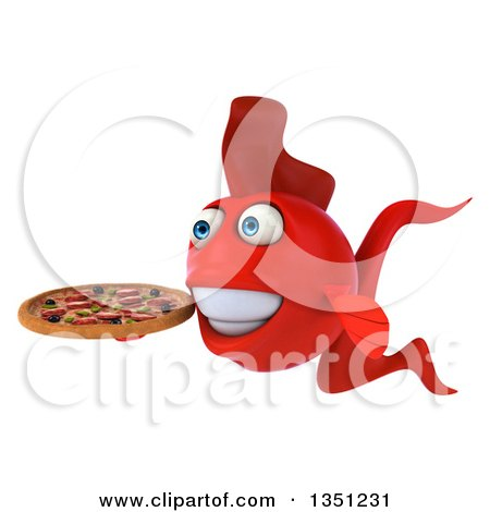 Clipart of a 3d Red Fish Facing Left and Holding a Pizza - Royalty Free Illustration by Julos