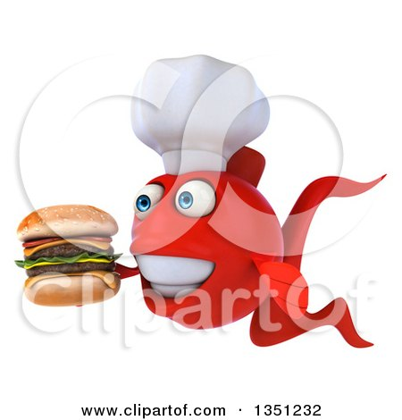 Clipart of a 3d Red Fish Chef Facing Left and Holding a Double Cheeseburger - Royalty Free Illustration by Julos