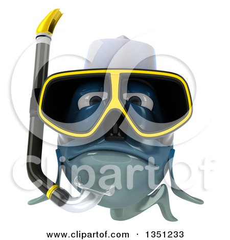 Clipart of a 3d Blue Chef Fish with Snorkel Gear - Royalty Free Illustration by Julos