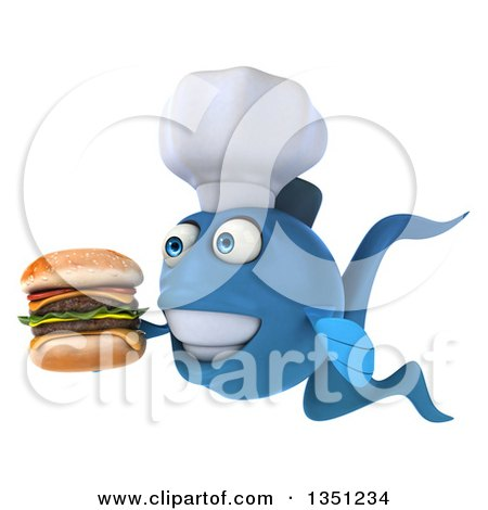 Clipart of a 3d Blue Fish Chef Facing Left, Holding a Double Cheeseburger - Royalty Free Illustration by Julos