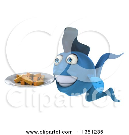 Clipart of a 3d Blue Fish Holding a Plate of French Fries - Royalty Free Illustration by Julos