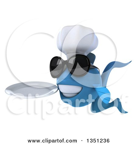 Clipart of a 3d Blue Fish Chef Wearing Sunglasses, Facing Left, Holding a Plate - Royalty Free Illustration by Julos
