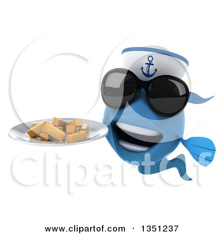 Clipart of a 3d Happy Blue Sailor Fish Wearing Sunglasses and Holding a Plate of French Fries - Royalty Free Illustration by Julos