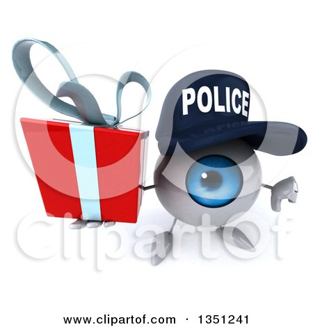Clipart of a 3d Blue Police Eyeball Character Holding up a Thumb down and a Gift - Royalty Free Illustration by Julos