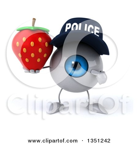 Clipart of a 3d Blue Police Eyeball Character Holding and Pointing to a Strawbery - Royalty Free Illustration by Julos
