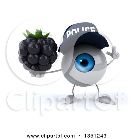 Clipart of a 3d Blue Police Eyeball Character Holding up a Finger and a Blackberry - Royalty Free Illustration by Julos