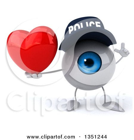 Clipart of a 3d Blue Police Eyeball Character Holding up a Finger and a Love Heart - Royalty Free Illustration by Julos