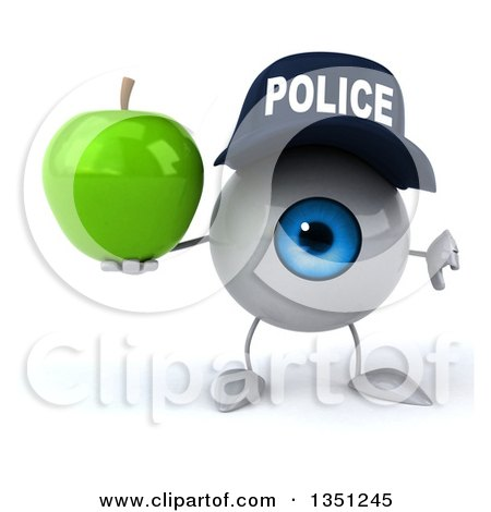 Clipart of a 3d Blue Police Eyeball Character Holding a Green Apple and Giving a Thumb down - Royalty Free Illustration by Julos