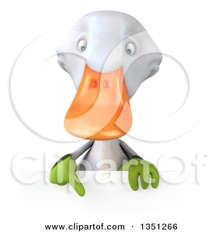 Clipart of a 3d White Gardener Duck Pointing down over a Sign - Royalty Free Illustration by Julos