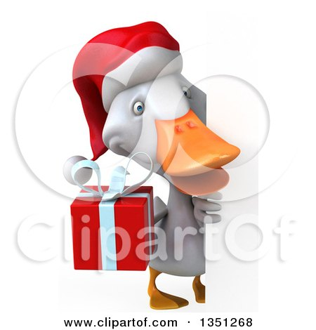 Clipart of a 3d White Christmas Duck Holding a Gift Around a Sign - Royalty Free Illustration by Julos