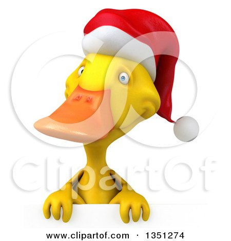 Clipart of a 3d Yellow Christmas Duck over a Sign - Royalty Free Illustration by Julos