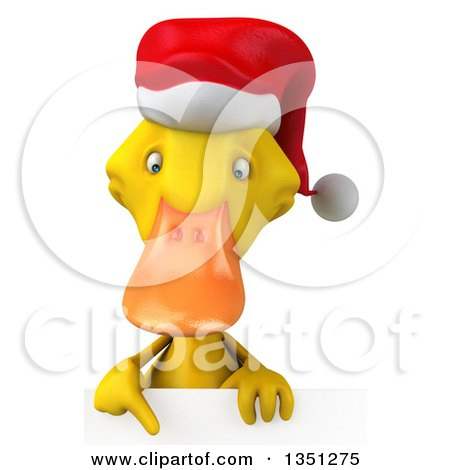 Clipart of a 3d Yellow Christmas Duck Pointing down over a Sign - Royalty Free Illustration by Julos