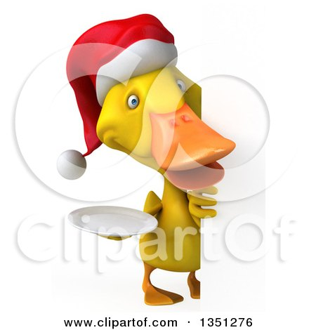 Clipart of a 3d Yellow Christmas Duck Holding a Plate Around a Sign - Royalty Free Illustration by Julos