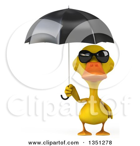 Clipart of a 3d Yellow Duck Wearing Sunglasses and Holding an Umbrella - Royalty Free Illustration by Julos