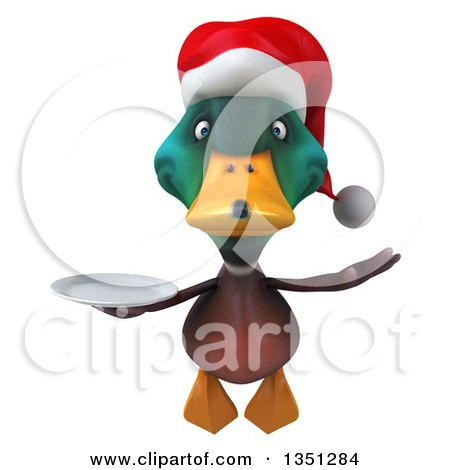 Clipart of a 3d Christmas Mallard Drake Duck Holding a Plate and Flying - Royalty Free Illustration by Julos