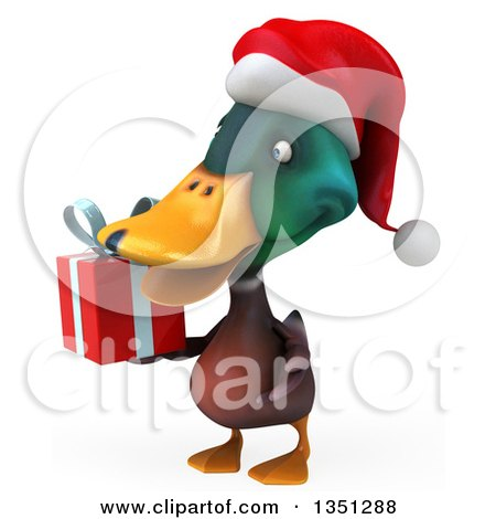 Clipart of a 3d Christmas Mallard Drake Duck Holding a Gift, Facing Left - Royalty Free Illustration by Julos