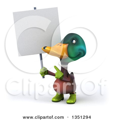 Clipart of a 3d Gardener Mallard Drake Duck Holding and Pointing to a Blank Sign - Royalty Free Illustration by Julos